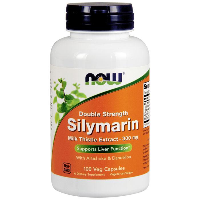 Silymarin 300 mg, Double Strength Milk Thistle Extract, 100 Veg Capsules, NOW Foods