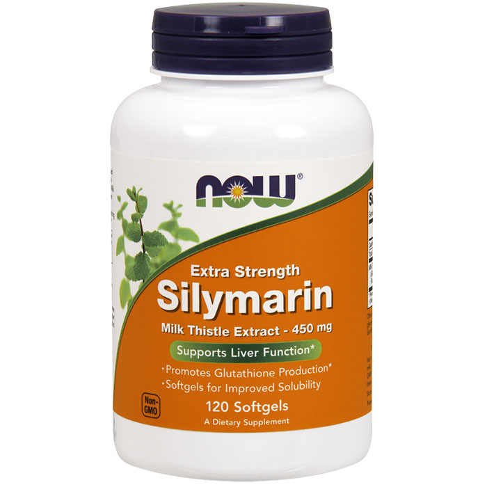 Silymarin Milk Thistle Extract 450 mg, Extra Strength, 120 Softgels, NOW Foods