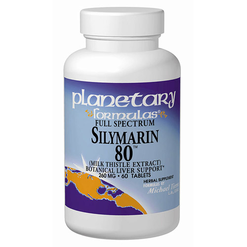 Silymarin 80 (Milk Thistle Extract) 260mg Full Spectrum 60 tabs, Planetary Herbals