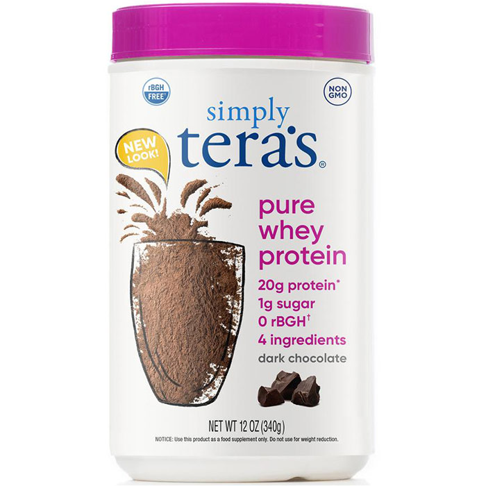 Simply Pure Whey Protein rBGH Free - Fair Trade Certified Dark Chocolate Cocoa, 12 oz, Teras Whey
