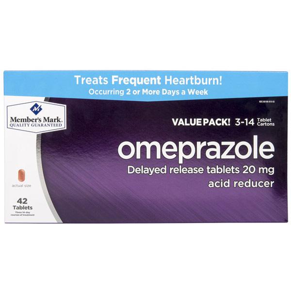Omeprazole Acid Reducer, Delayed Release, 42 Tablets, Members Mark