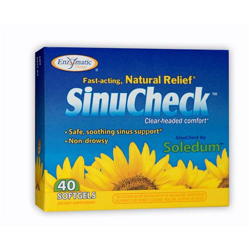 SinuCheck Sinus Support with Eucalyptus Oil Extract, 40 Softgels, Enzymatic Therapy