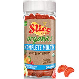 Slice of Life Organic Complete Multi+, Adult Gummy Vitamins, 60 Gummies, Yummi Bears