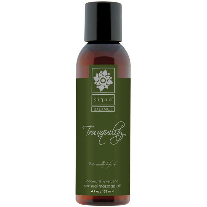 Sliquid Balance Tranquility Sensual Massage Oil, Coconut Lime Verbena, 4.2 oz