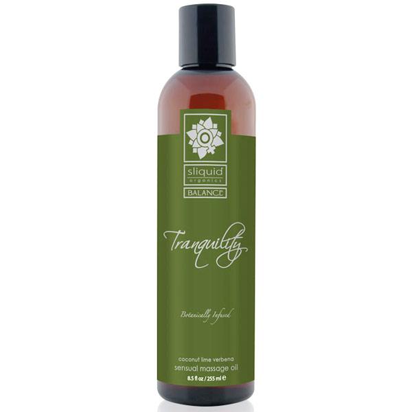 Sliquid Balance Tranquility Sensual Massage Oil, Coconut Lime Verbena, 8.5 oz