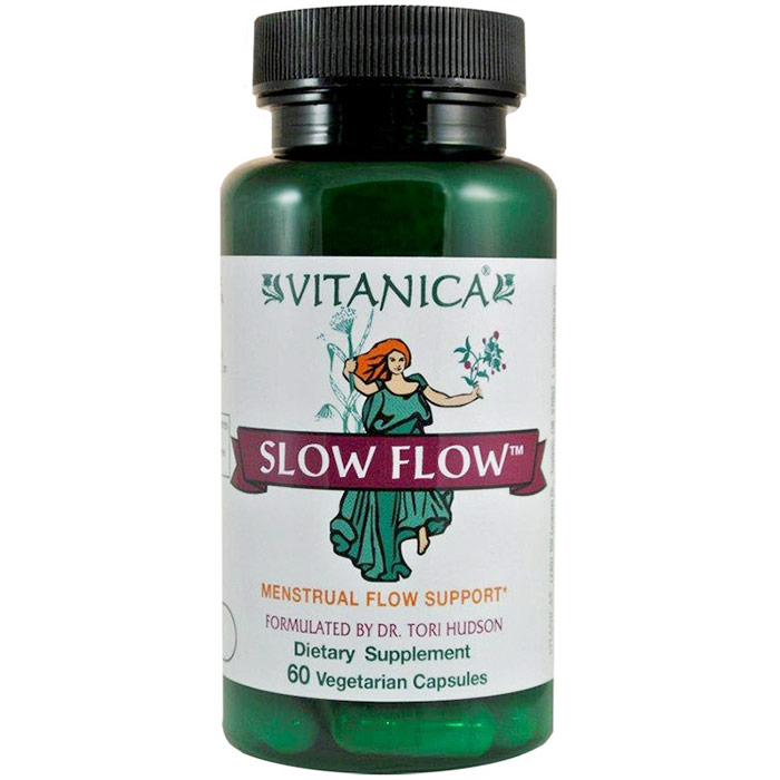 Slow Flow, Menstrual Flow Support, 60 Vegetarian Capsules, Vitanica