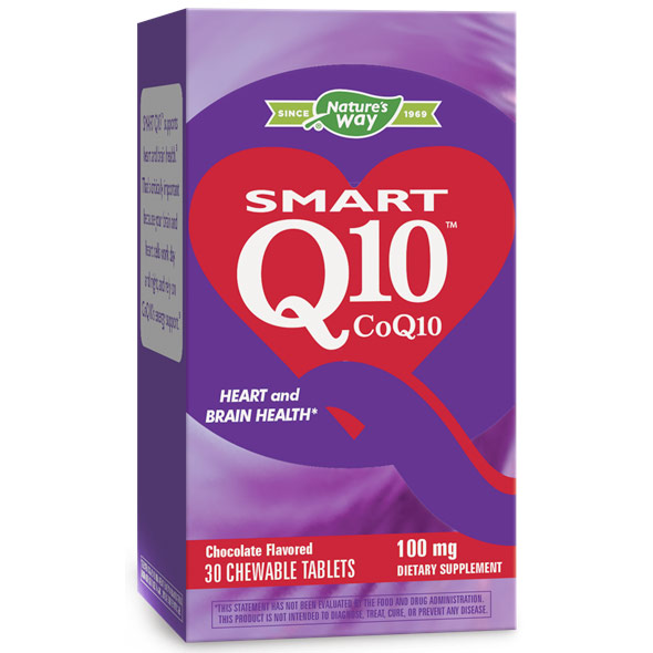 SMART Q10 CoQ10 100 mg, Chocolate, 30 Chewable Tablets, Enzymatic Therapy