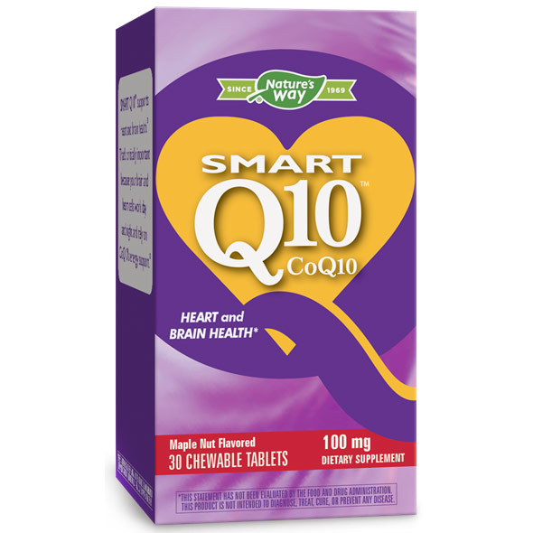 SMART Q10 CoQ10 100 mg, Maple Nut, 30 Chewable Tablets, Enzymatic Therapy