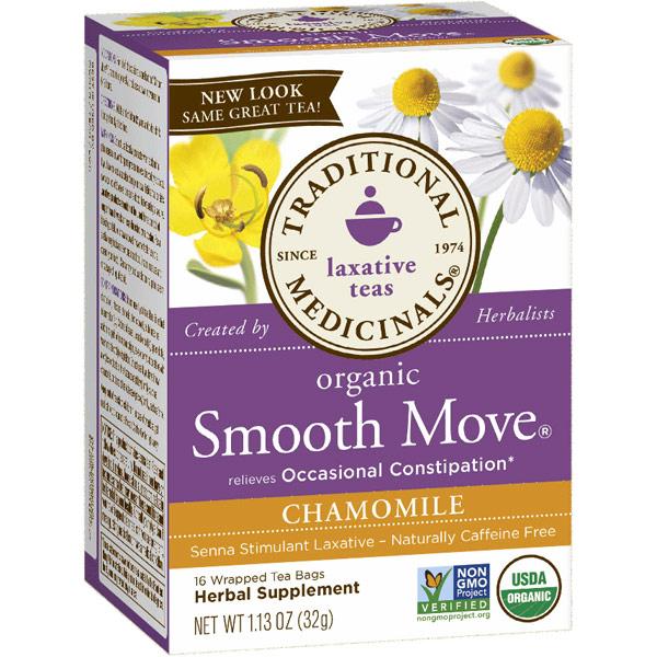 Smooth Move Chamomile Tea, Senna Stimulant Laxative Tea, 16 Tea Bags, Traditional Medicinals Teas