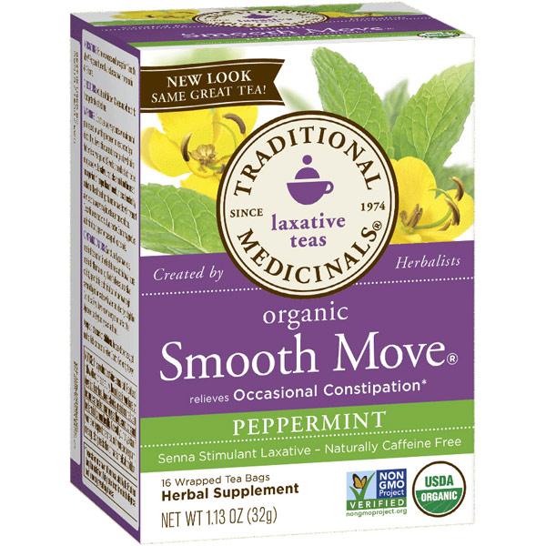 Smooth Move Peppermint Tea, Senna Stimulant Laxative Tea, 16 Tea Bags, Traditional Medicinals Teas