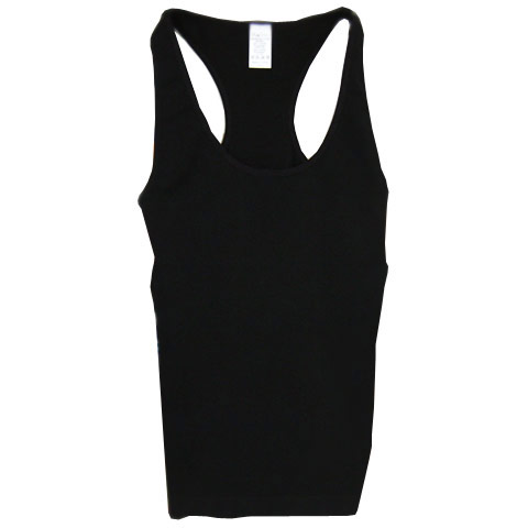 Sofra Ladies Seamless Racer Back Tank Top, Black