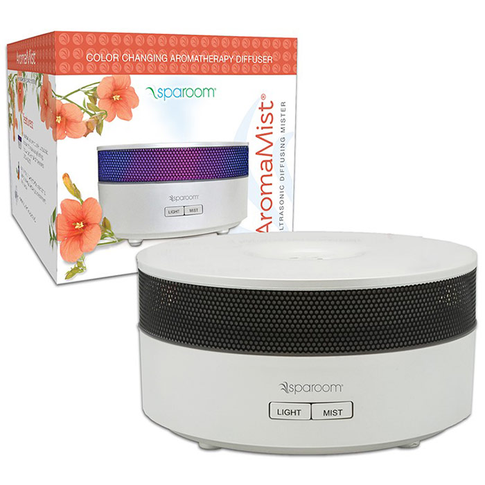 SpaRoom AromaMist, Color Changing Aromatherapy Ultrasonic Diffuser, Black, 1 ct