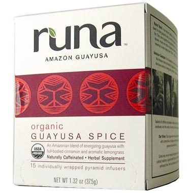 Organic Amazonian Guayusa Spice Tea, 16 Tea Bags x 6 Box, Runa Tea