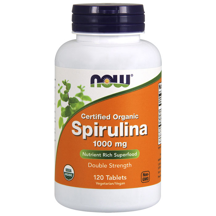 Spirulina 1000 mg Organic, 120 Tablets, NOW Foods
