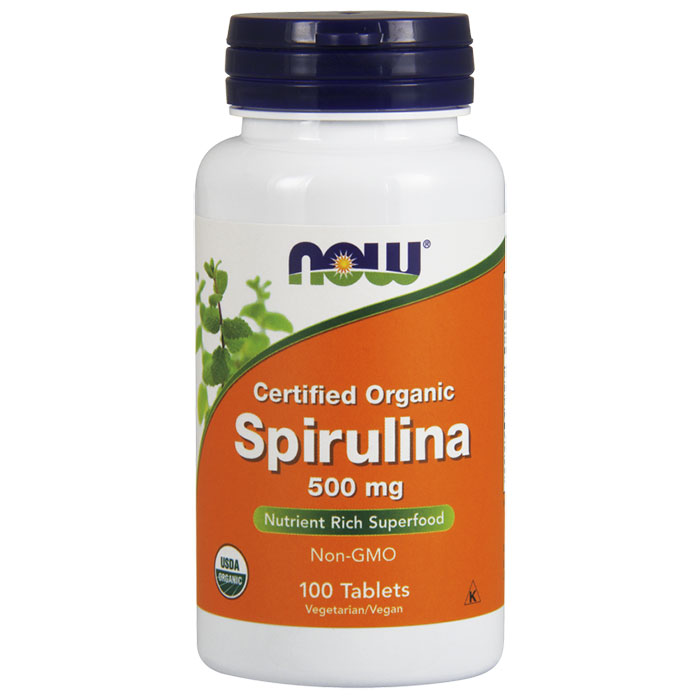 Spirulina 500 mg Tabs, Certified Organic, 100 Tablets, NOW Foods