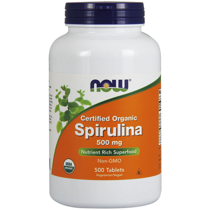 Organic Spirulina 500 mg Tabs, Value Size , 500 Tablets, NOW Foods