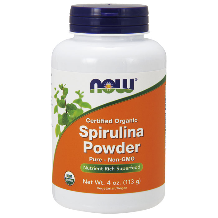 Spirulina Powder, Certified Organic, 4 oz, NOW Foods