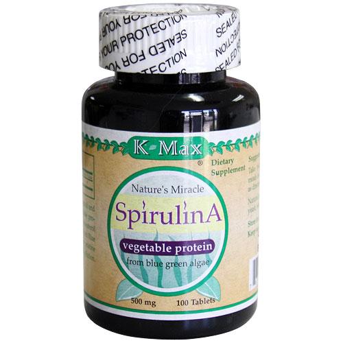 Spirulina 500 mg, 100 Tablets, K-Max