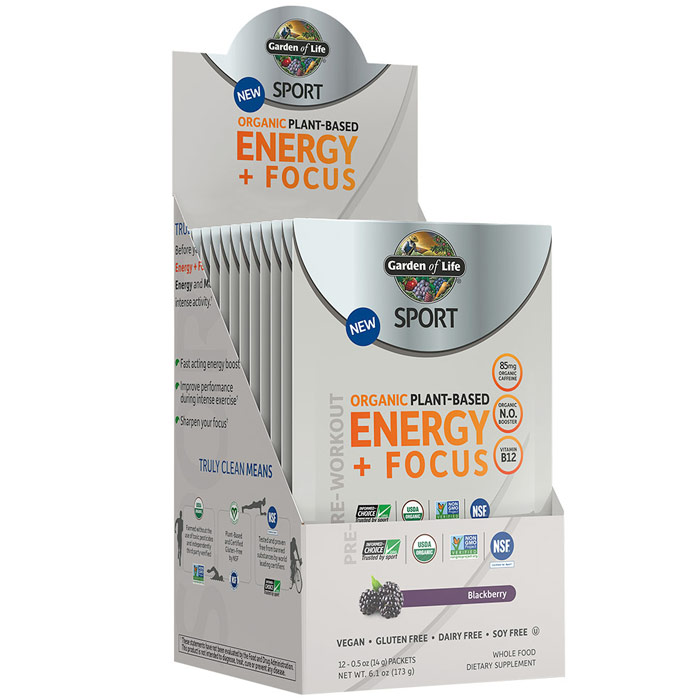 SPORT Pre-Workout Organic Plant-Based Energy + Focus Powder, Blackberry, 0.5 oz x 12 Packets, Garden of Life