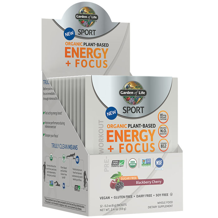 SPORT Pre-Workout Organic Plant-Based Energy + Focus Powder, Sugar Free, Blackberry Cherry, 0.2 oz x 12 Packets, Garden of Life