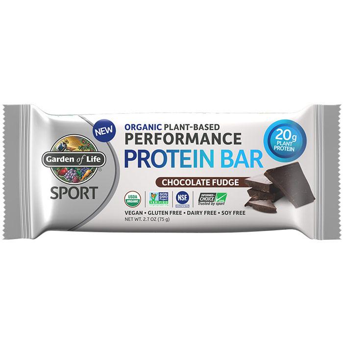 SPORT Refuel Organic Plant-Based Performance Protein Bar, Chocolate Fudge, 2.7 oz x 12 Bars, Garden of Life