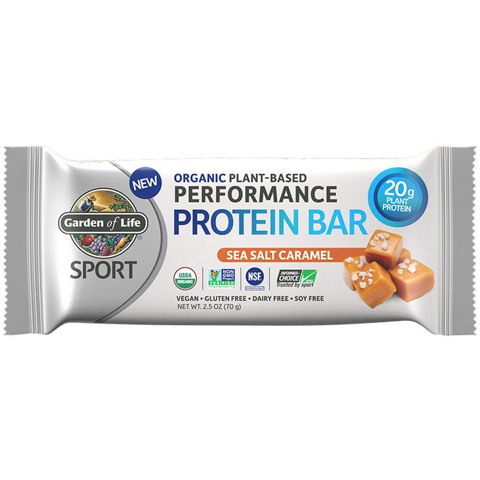 SPORT Refuel Organic Plant-Based Performance Protein Bar, Sea Salt Caramel, 2.5 oz x 12 Bars, Garden of Life