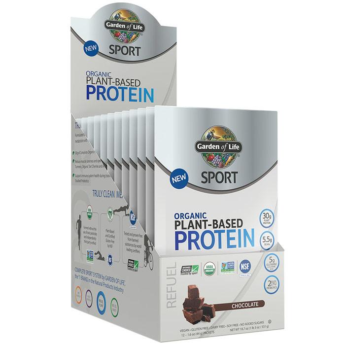 SPORT Refuel Organic Plant-Based Protein Powder, Chocolate, 1.6 oz x 12 Packets, Garden of Life