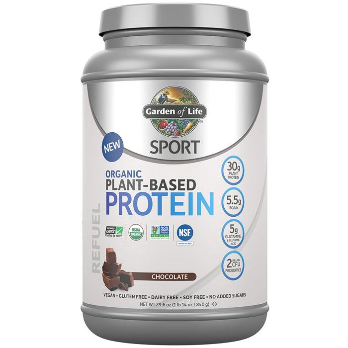 SPORT Refuel Organic Plant-Based Protein Powder, Chocolate, 29.6 oz (840 g), Garden of Life