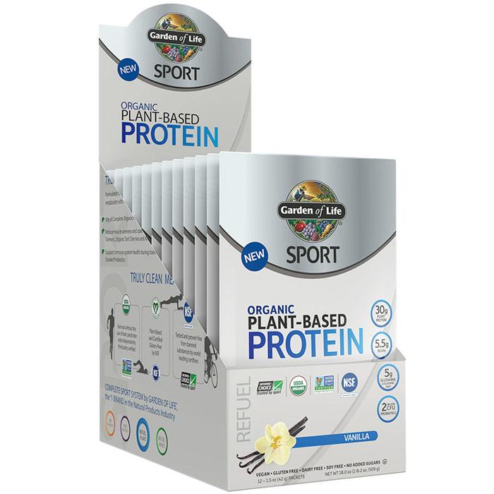 SPORT Refuel Organic Plant-Based Protein Powder, Vanilla, 1.5 oz x 12 Packets, Garden of Life
