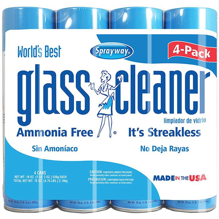 Sprayway Glass Cleaner, Ammonia Free & Streakless, 19 oz x 4 Cans