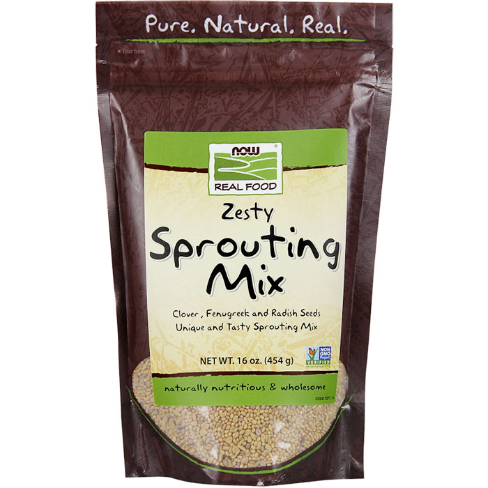 Zesty Sprouting Mix (Clover, Fenugreek & Radish Seeds), 1 lb, NOW Foods