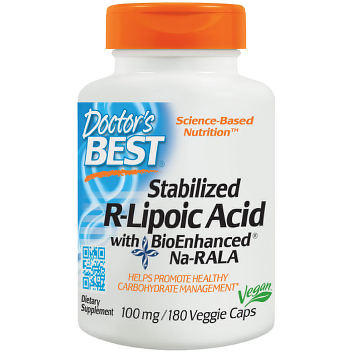Stabilized R-Lipoic Acid 100 mg, Value Size, 180 Vegetarian Capsules, Doctors Best