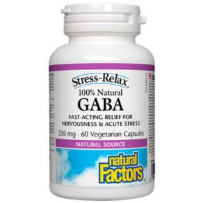 Stress-Relax Natural GABA 250 mg, 60 Vegetarian Capsules, Natural Factors