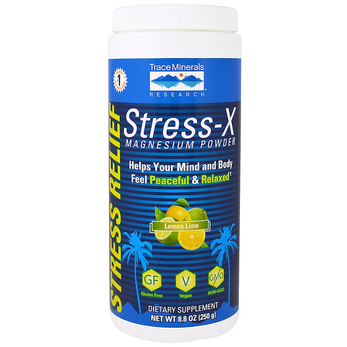 Stress-X Magnesium Powder, Lemon Lime, 8.8 oz, Trace Minerals Research