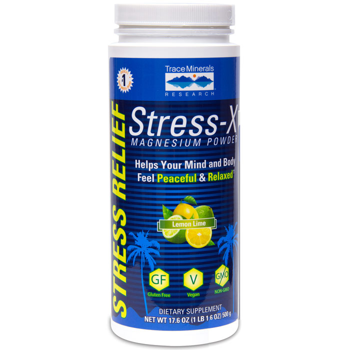 Stress-X Magnesium Powder - Lemon Lime, 17.6 oz, Trace Minerals Research