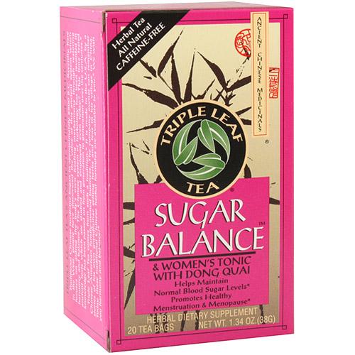 Sugar Balance & Womens Tonic Herbal Tea, 20 Tea Bags x 6 Box, Triple Leaf Tea