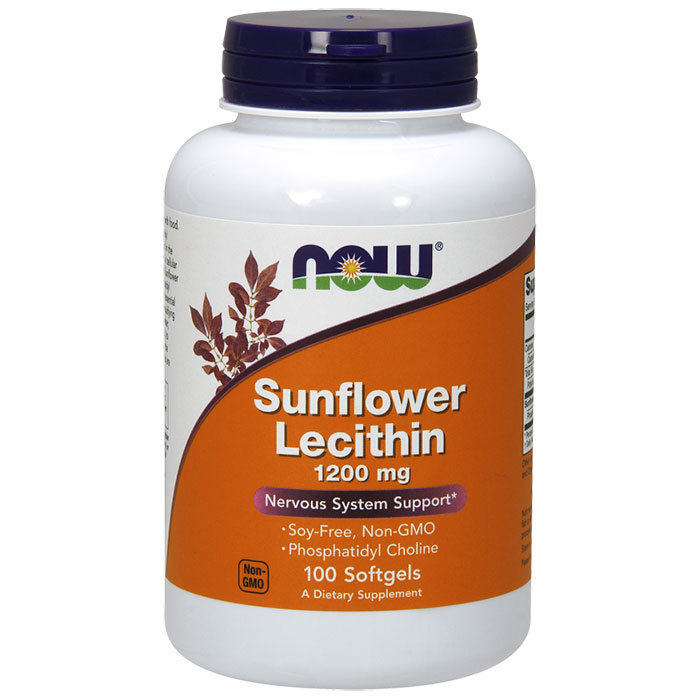 Sunflower Lecithin 1200 mg Soy-Free, Non-GMO, 100 Softgels, NOW Foods