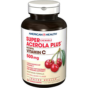 Super Acerola Plus Natural Vitamin C 500 mg Chewable Berry, 250 + 50 Wafers Bonus Size While Supplies Last, American Health