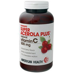 Super Acerola Plus Natural Vitamin C Chewable 500mg 100 wafers from American Health ShopFest Money Saver