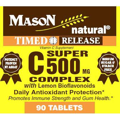 Super Vitamin C 500 Complex with Lemon Bioflavonoids, 90 Tablets, Mason Natural