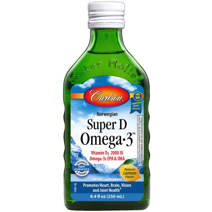 Super D Omega-3 Liquid, 250 ml, Carlson Labs