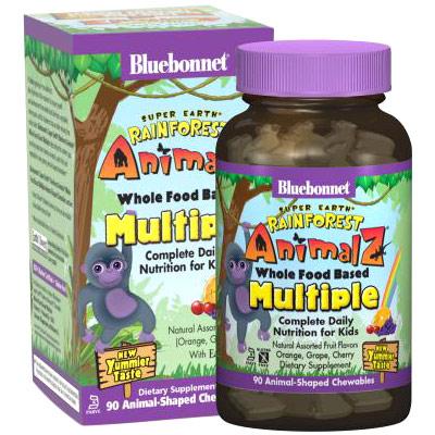 Super Earth Rain Forest Animalz Whole Food Based Multiple for Kids, Natural Assorted Fruit Flavor, 90 Chewable Tablets, Bluebonnet Nutrition