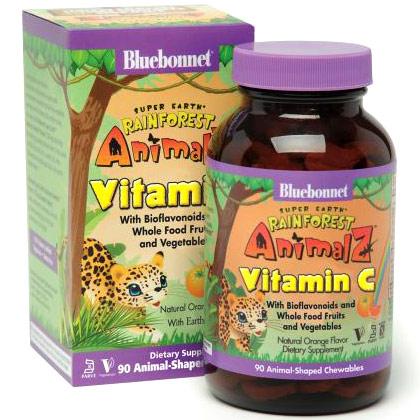 Super Earth Rainforest Animalz Vitamin C, Natural Orange Flavor, 90 Chewable Tablets, Bluebonnet Nutrition