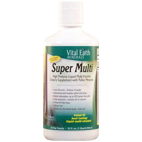 Super Multi Liquid Vitamins with Fulvic Minerals, 32 oz, Vital Earth Minerals