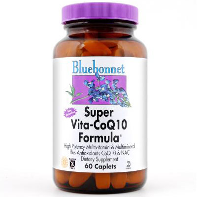 Super Vita-CoQ10 Formula, Multivitamin Plus CoQ10 & NAC, 60 Caplets, Bluebonnet Nutrition