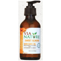 Sweet Almond Carrier Skin Care Oil, 4 oz, Via Nature