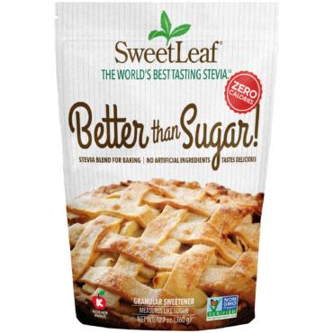 SweetLeaf Better Than Sugar Stevia Sweetener, Natural Granular, 12.7 oz, Wisdom Natural Brands