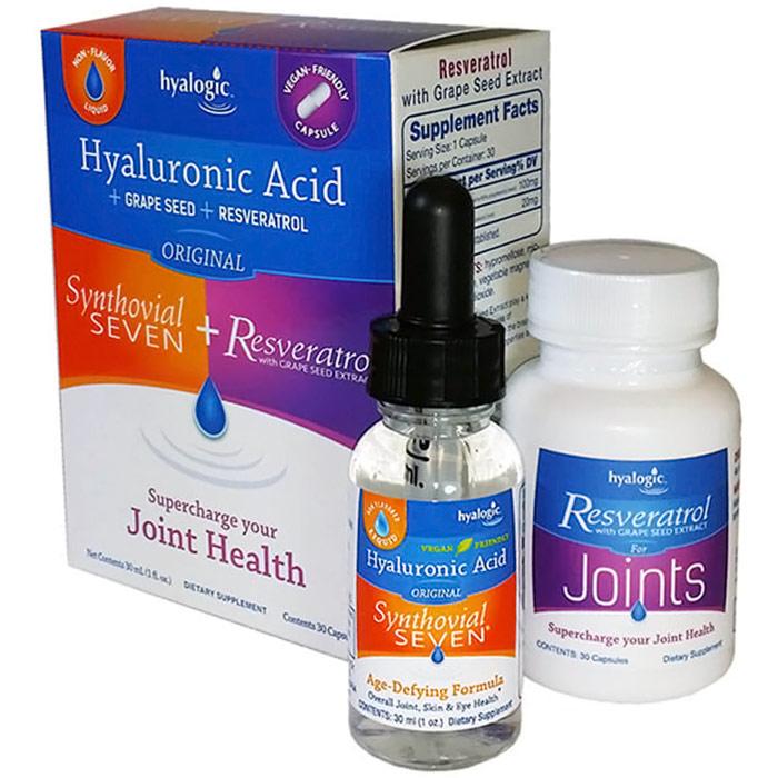 Synthovial Seven Plus, Hyaluronic Acid Liquid + Resveratrol Caps, 1 oz + 30 Capsules, Hyalogic