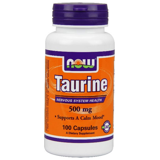 Taurine 500 mg, 100 Capsules, NOW Foods