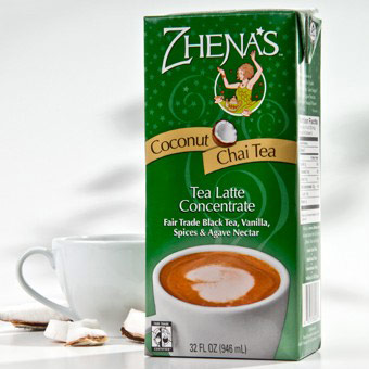 Tea Latte Concentrate, Coconut Chai Tea, 6 x 32 oz, Zhena's Gypsy Tea
